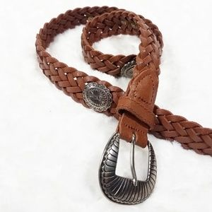 Brown Braided Belt with Silver Buckle